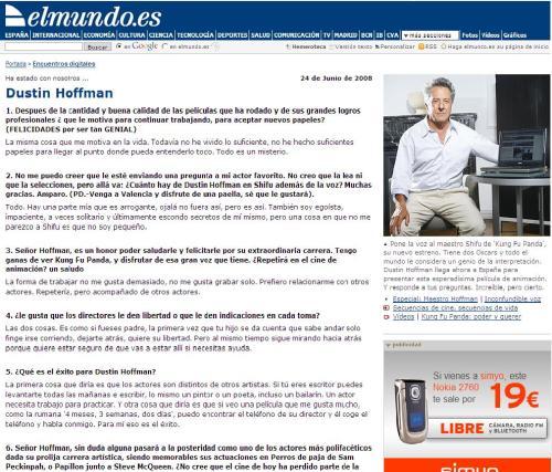 Extracto del encuentro digital mantenido el 24 de junio de 2008 con el actor Dustin Hoffman en elmundo.es